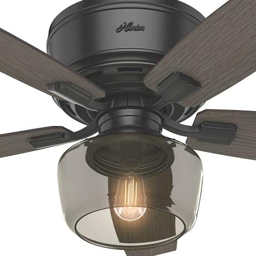 Hunter Bennett Indoor Low Profile Ceiling Fan With LED Light And Remote Control 52 Matte Black 0 1