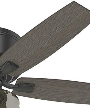 Hunter Bennett Indoor Low Profile Ceiling Fan With LED Light And Remote Control 52 Matte Black 0 2 300x360