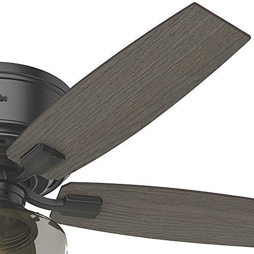 Hunter Bennett Indoor Low Profile Ceiling Fan With LED Light And Remote Control 52 Matte Black 0 2