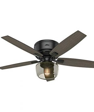 Hunter Bennett Indoor Low Profile Ceiling Fan With LED Light And Remote Control 52 Matte Black 0 300x360