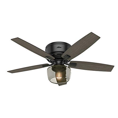 Hunter Bennett Indoor Low Profile Ceiling Fan With LED Light And Remote Control 52 Matte Black 0