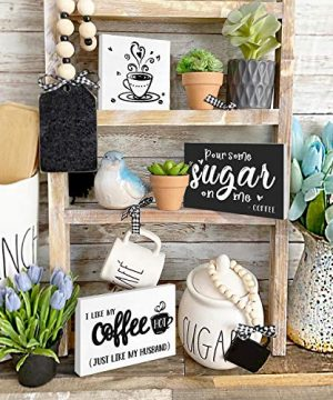 Huray Rayho Coffee Tiered Tray Decor Rustic Coffee Bar Signs Farmhouse Rae Dunn For Fun Kitchen Collection Coffee Station 3D Signs Muglife 0 0 300x360