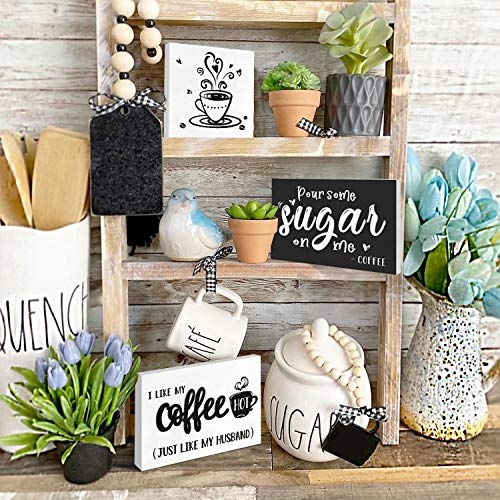 Huray Rayho Coffee Tiered Tray Decor Rustic Coffee Bar Signs Farmhouse Rae Dunn For Fun Kitchen Collection Coffee Station 3D Signs Muglife 0 0