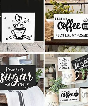 Huray Rayho Coffee Tiered Tray Decor Rustic Coffee Bar Signs Farmhouse Rae Dunn For Fun Kitchen Collection Coffee Station 3D Signs Muglife 0 4 300x360
