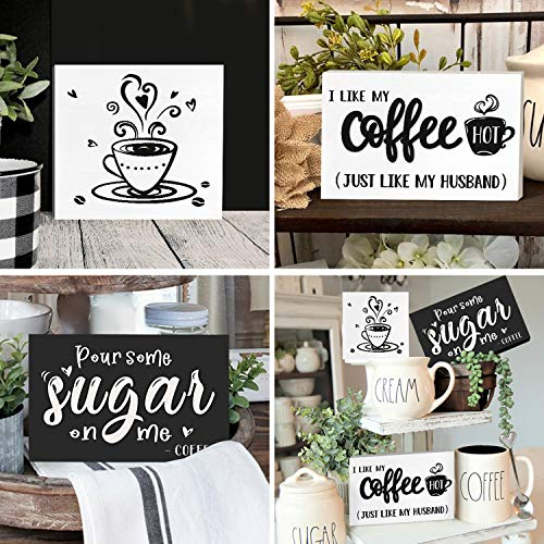 Huray Rayho Coffee Tiered Tray Decor Rustic Coffee Bar Signs Farmhouse Rae Dunn For Fun Kitchen Collection Coffee Station 3D Signs Muglife 0 4
