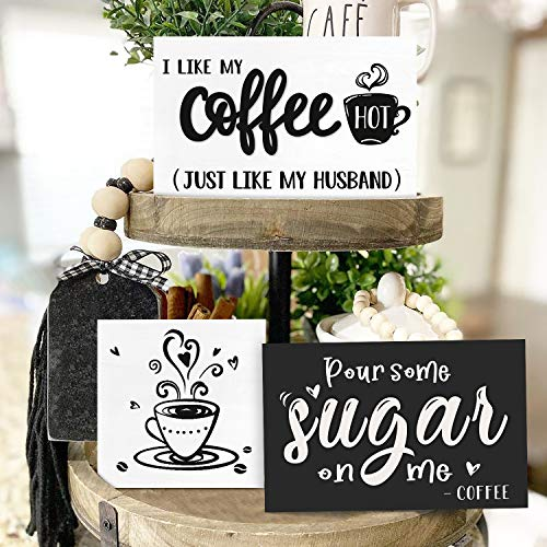 Huray Rayho Coffee Tiered Tray Decor Rustic Coffee Bar Signs Farmhouse Rae Dunn For Fun Kitchen Collection Coffee Station 3D Signs Muglife 0