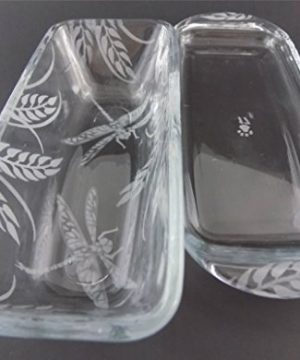 IncisoArt Hand Etched Permanently Sandblasted Sand Carved Butter Dish Serving Tray Handmade USA Dragonfly Grass 0 1 300x360