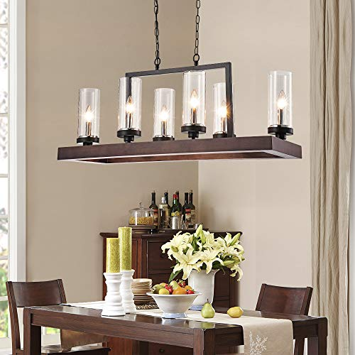 Industrial Kitchen Island LightingFarmhouse Chandelier 6 Lights Kitchen Pendant Light Brown Finish With Clear Glass Shade 0 4