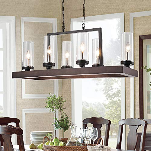 Industrial Kitchen Island LightingFarmhouse Chandelier 6 Lights Kitchen Pendant Light Brown Finish With Clear Glass Shade 0