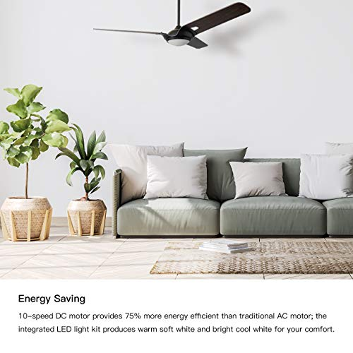 Innovator 56 Smart Carro Smart Ceiling Fan Indooroutdoor 56 With Remote Innovator Light Kit Included Works With Google Assistant And Amazon Alexa Dark Walnut Wood 0 0