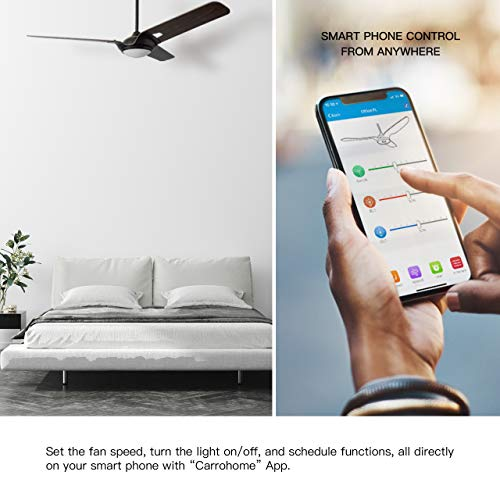 Innovator 56 Smart Carro Smart Ceiling Fan Indooroutdoor 56 With Remote Innovator Light Kit Included Works With Google Assistant And Amazon Alexa Dark Walnut Wood 0 1
