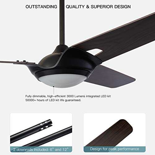 Innovator 56 Smart Carro Smart Ceiling Fan Indooroutdoor 56 With Remote Innovator Light Kit Included Works With Google Assistant And Amazon Alexa Dark Walnut Wood 0