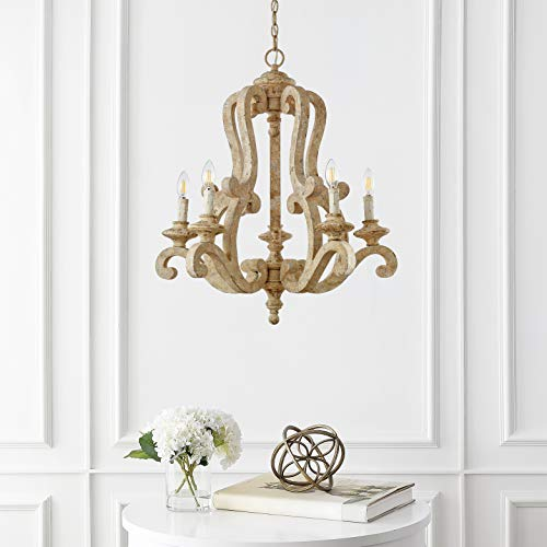 JONATHAN Y JYL9520A Oria 5 Light 27 Adjustable WoodIron Scrolled LED Chandelier FarmhouseCottageRusticSouthwestern Dimmable For Dining Room Foyer Bedroom Brown 0 0