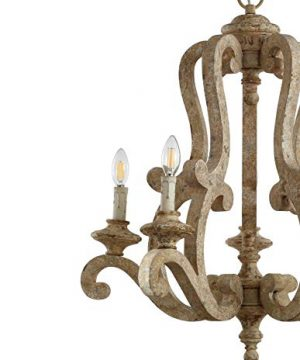 JONATHAN Y JYL9520A Oria 5 Light 27 Adjustable WoodIron Scrolled LED Chandelier FarmhouseCottageRusticSouthwestern Dimmable For Dining Room Foyer Bedroom Brown 0 2 300x360
