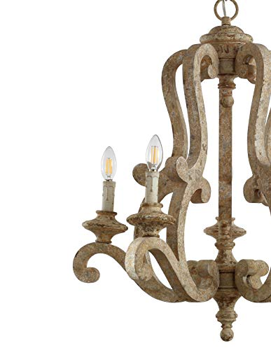 JONATHAN Y JYL9520A Oria 5 Light 27 Adjustable WoodIron Scrolled LED Chandelier FarmhouseCottageRusticSouthwestern Dimmable For Dining Room Foyer Bedroom Brown 0 2