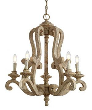 JONATHAN Y JYL9520A Oria 5 Light 27 Adjustable WoodIron Scrolled LED Chandelier FarmhouseCottageRusticSouthwestern Dimmable For Dining Room Foyer Bedroom Brown 0 300x360