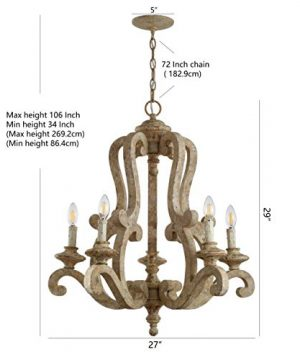 JONATHAN Y JYL9520A Oria 5 Light 27 Adjustable WoodIron Scrolled LED Chandelier FarmhouseCottageRusticSouthwestern Dimmable For Dining Room Foyer Bedroom Brown 0 4 300x360