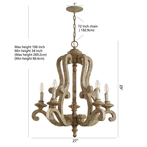 JONATHAN Y JYL9520A Oria 5 Light 27 Adjustable WoodIron Scrolled LED Chandelier FarmhouseCottageRusticSouthwestern Dimmable For Dining Room Foyer Bedroom Brown 0 4