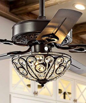 JONATHAN Y JYL9704A Classic Ali 3 Light Fandelier With Remote Wrought Iron LED Ceiling Fan 52 Oil Rubbed Bronze 0 300x360