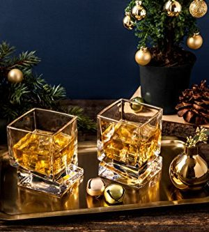 JoyJolt Carre Square Scotch Glasses Old Fashioned Whiskey Glasses 10 Ounce Ultra Clear Whiskey Glass For Bourbon And Liquor Set Of 2 Glassware 0 1 300x333