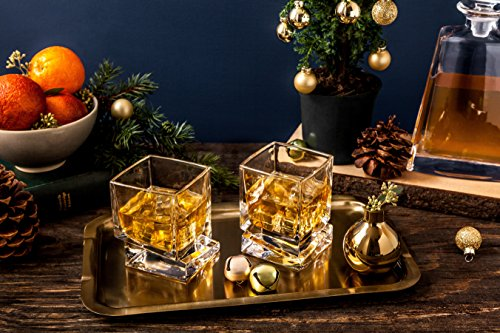 JoyJolt Carre Square Scotch Glasses Old Fashioned Whiskey Glasses 10 Ounce Ultra Clear Whiskey Glass For Bourbon And Liquor Set Of 2 Glassware 0 1
