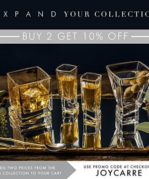 JoyJolt Carre Square Scotch Glasses Old Fashioned Whiskey Glasses 10 Ounce Ultra Clear Whiskey Glass For Bourbon And Liquor Set Of 2 Glassware 0 3 300x360