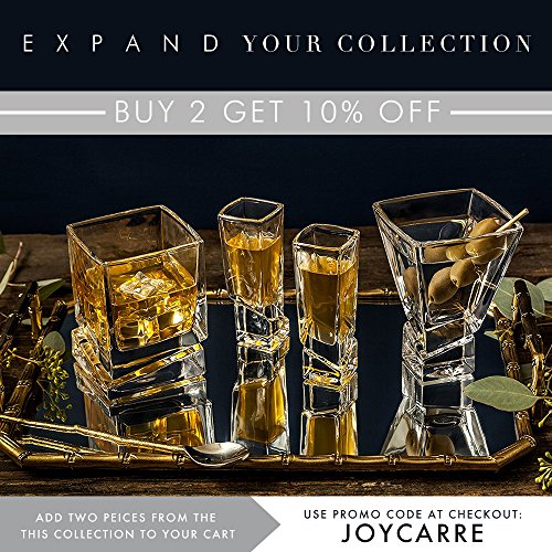 JoyJolt Carre Square Scotch Glasses Old Fashioned Whiskey Glasses 10 Ounce Ultra Clear Whiskey Glass For Bourbon And Liquor Set Of 2 Glassware 0 3