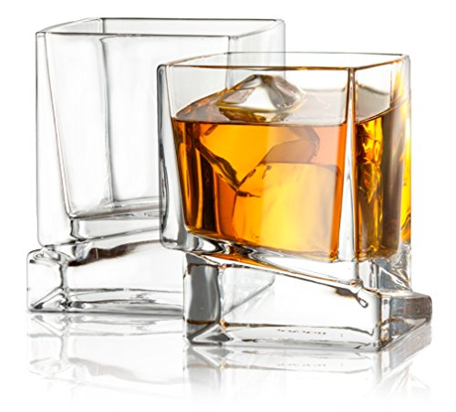 JoyJolt Carre Square Scotch Glasses Old Fashioned Whiskey Glasses 10 Ounce Ultra Clear Whiskey Glass For Bourbon And Liquor Set Of 2 Glassware 0