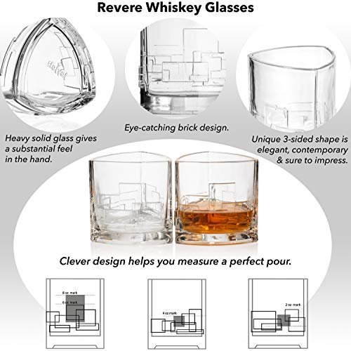 JoyJolt Revere Scotch Glasses Old Fashioned Whiskey Glasses 11 Ounce Ultra Clear Whiskey Glass For Bourbon And Liquor Set Of 2 Glassware 0 1