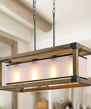 KSANA Farmhouse Chandelier Dining Room Lighting Fixtures Hanging In Rustic Rectangle Wood And Metal Finish Linear Pendant Lamps With PC Shade For Kitchen Island Entryway 0 300x360