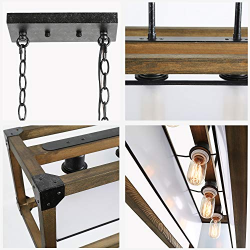 KSANA Farmhouse Chandelier Dining Room Lighting Fixtures Hanging In Rustic Rectangle Wood And Metal Finish Linear Pendant Lamps With PC Shade For Kitchen Island Entryway 0 5