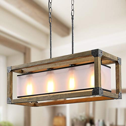 KSANA Farmhouse Chandelier Dining Room Lighting Fixtures Hanging In Rustic Rectangle Wood And Metal Finish Linear Pendant Lamps With PC Shade For Kitchen Island Entryway 0