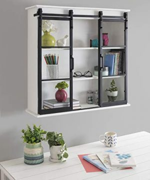 Kate And Laurel Barnhardt Decorative Wooden Wall Cabinet With Two Sliding Glass Doors 30 X 28 White Barndoor Modern Farmhouse Storage 0 0 300x360