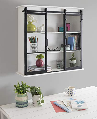 Kate And Laurel Barnhardt Decorative Wooden Wall Cabinet With Two Sliding Glass Doors 30 X 28 White Barndoor Modern Farmhouse Storage 0 0