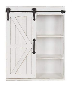 Kate And Laurel Cates Modern Farmhouse Wood Wall Storage Shelving Cabinet With Sliding Barn Door Rustic White 0 300x360