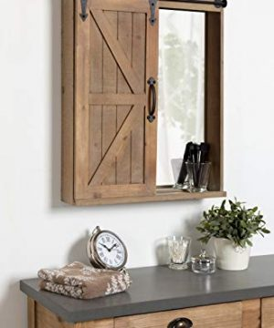 Kate And Laurel Cates Wood Wall Storage Cabinet With Vanity Mirror And Sliding Barn Door Rustic Brown 0 0 300x360