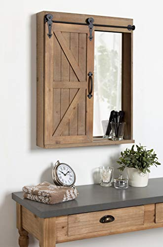 Kate And Laurel Cates Wood Wall Storage Cabinet With Vanity Mirror And Sliding Barn Door Rustic Brown 0 0