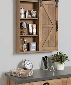 Kate And Laurel Cates Wood Wall Storage Cabinet With Vanity Mirror And Sliding Barn Door Rustic Brown 0 1 300x360