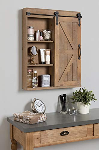 Kate And Laurel Cates Wood Wall Storage Cabinet With Vanity Mirror And Sliding Barn Door Rustic Brown 0 1