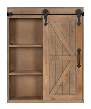 Kate And Laurel Cates Wood Wall Storage Cabinet With Vanity Mirror And Sliding Barn Door Rustic Brown 0 2 300x360