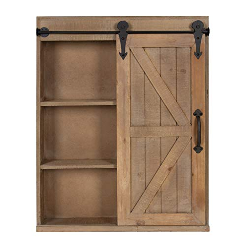 Kate And Laurel Cates Wood Wall Storage Cabinet With Vanity Mirror And Sliding Barn Door Rustic Brown 0 2