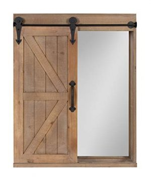 Kate And Laurel Cates Wood Wall Storage Cabinet With Vanity Mirror And Sliding Barn Door Rustic Brown 0 300x360