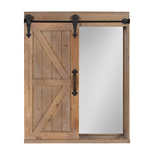 Kate And Laurel Cates Wood Wall Storage Cabinet With Vanity Mirror And Sliding Barn Door Rustic Brown 0