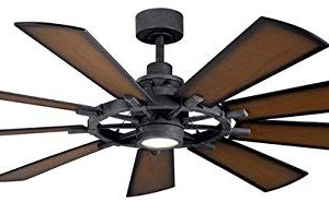 Kichler 300265DBK Gentry 65 Ceiling Fan With LED Lights And Wall Control Distressed Black 0 300x185