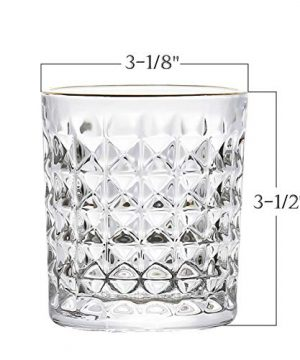 Kingrol 6 Pack Crystal Whiskey Glass With Gold Rim 10 Oz Double Old Fashioned Glasses For Bourbon Scotch Manhattans Liquor Cocktails Beverages 0 0 300x360