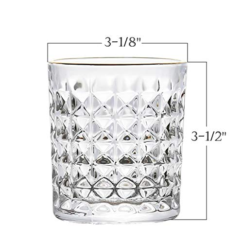 Kingrol 6 Pack Crystal Whiskey Glass With Gold Rim 10 Oz Double Old Fashioned Glasses For Bourbon Scotch Manhattans Liquor Cocktails Beverages 0 0
