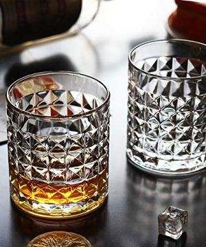 Kingrol 6 Pack Crystal Whiskey Glass With Gold Rim 10 Oz Double Old Fashioned Glasses For Bourbon Scotch Manhattans Liquor Cocktails Beverages 0 4 300x360
