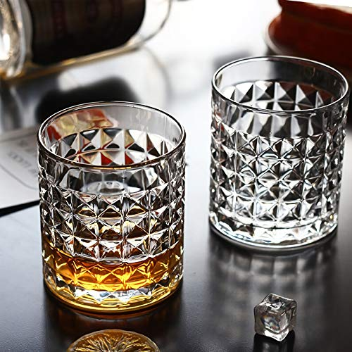 Kingrol 6 Pack Crystal Whiskey Glass With Gold Rim 10 Oz Double Old Fashioned Glasses For Bourbon Scotch Manhattans Liquor Cocktails Beverages 0 4