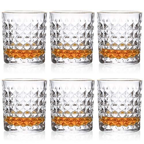 Kingrol 6 Pack Crystal Whiskey Glass With Gold Rim 10 Oz Double Old Fashioned Glasses For Bourbon Scotch Manhattans Liquor Cocktails Beverages 0