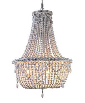 KunMai Farmhouse Distressed Wood Beaded Basket Chandelier White Pendant Three Lights Vintage Bedroom Bead Chandeliers 0 300x360
